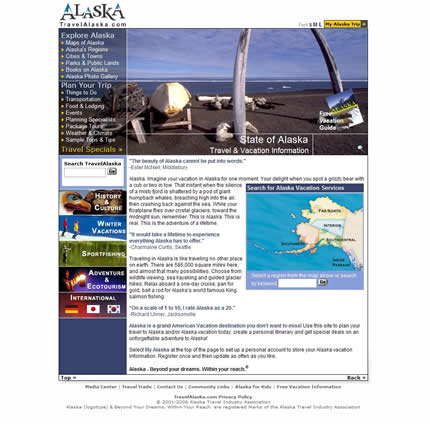 Alaska state tourism website: 2007