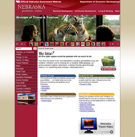 Nebraska state tourism website: 2009